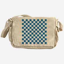 BLUE AND WHITE Checkered Pattern Messenger Bag