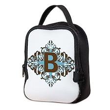 B Monogram Personalized Letter Neoprene Lunch Bag