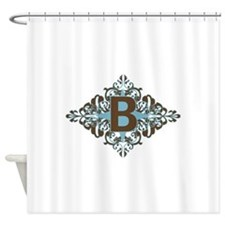 B Monogram Personalized Letter Shower Curtain