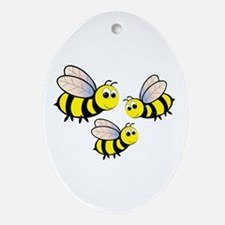 Three Bees Ornament (Oval)