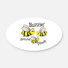 Buzzin Around Oval Car Magnet