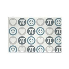 Peace Love Pi Pattern Rectangle Magnet
