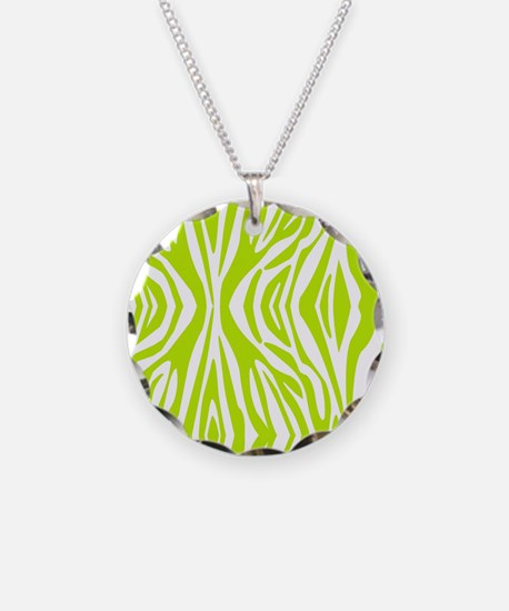 Lime Green and White Zebra P Necklace