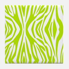 Lime Green and White Zebra Print Tile Coaster