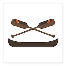 "Row Canoe Square Car Magnet 3"" x 3"""