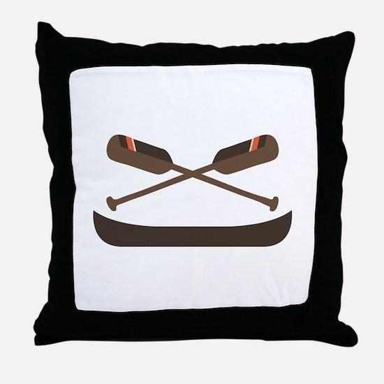 Row Canoe Throw Pillow