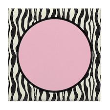 Funky Zebra Light Pink Tile Coaster