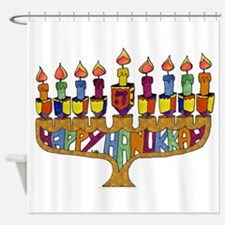 Happy Hanukkah Dreidel Menorah Shower Curtain