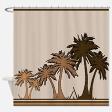 Simple Palm Trees - Shades Of Brown Shower Curtain