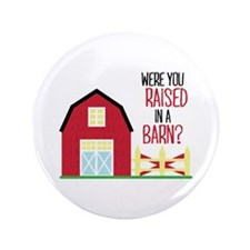 """Raised In A Barn 3.5"""" Button"""
