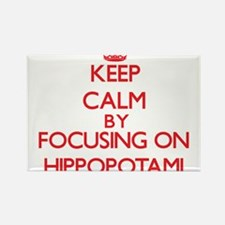 Keep Calm by focusing on Hippopotami Magnets