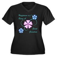 Happiness Gr Women's Plus Size V-Neck Dark T-Shirt