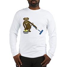 Chocolate Lab Curling Long Sleeve T-Shirt