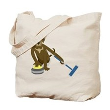 Chocolate Lab Curling Tote Bag
