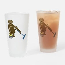 Chocolate Lab Curling Drinking Glass