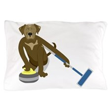 Chocolate Lab Curling Pillow Case