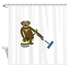 Chocolate Lab Curling Shower Curtain