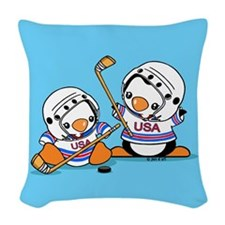 Ice Hockey Penguins (1) Woven Throw Pillow