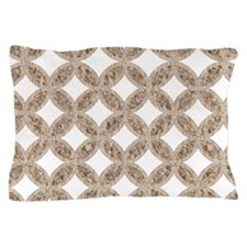 Quilted Diamond Leaf Beige Pillow Case
