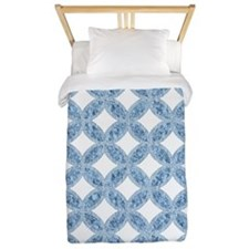 Quilted Diamond Leaf Blue Twin Duvet