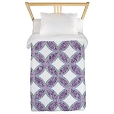 Quilted Diamond Leaf Lavender Twin Duvet