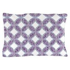 Quilted Diamond Leaf Lavender Pillow Case