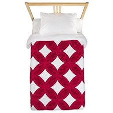 Quilted Diamond Leaf Ruby Twin Duvet