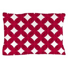 Quilted Diamond Leaf Ruby Pillow Case