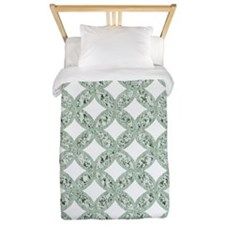 Quilted Diamond Leaf Sage Twin Duvet