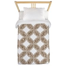 Quilted Diamond Leaf Beige Twin Duvet