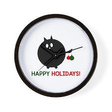 Fat Cat Christmas Wall Clock