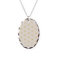 Flower of Life Gold Line Necklace Oval Charm