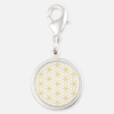 Flower of Life Gold Line Silver Round Charm