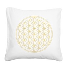 Flower of Life Gold Line Square Canvas Pillow