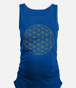 Flower of Life Gold Line Maternity Tank Top