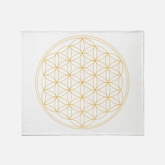 Flower of Life Gold Line Throw Blanket