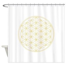 Flower of Life Gold Line Shower Curtain