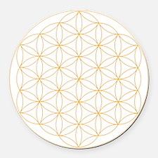 Flower of Life Gold Line Round Car Magnet