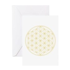 Flower of Life Gold Line Greeting Card
