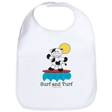 Surfing Cow Red Surfboard Bib Baby Gift