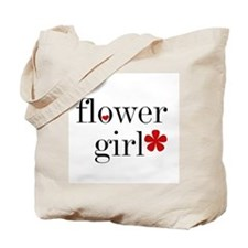 Black Text Flower Girl Tote Bag