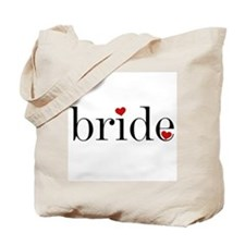 Black Text Red Heart Bride Tote Bag
