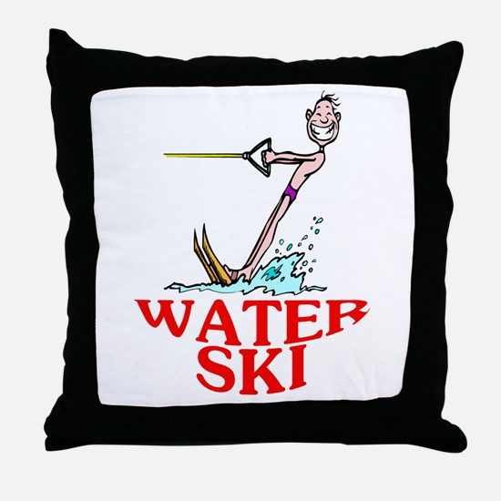 Let's Water Ski! Throw Pillow