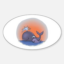 Cute Mommy and Baby Whale Oval Decal