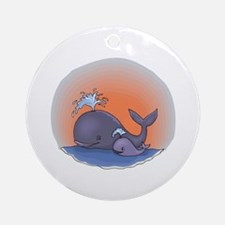 Cute Mommy and Baby Whale Ornament (Round)