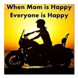 Motorcycle woman Square Car Magnets