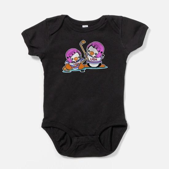 Ice Hockey Penguins Baby Bodysuit