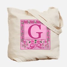 Letter G Pink Ribbons And Roses Monogram Tote Bag