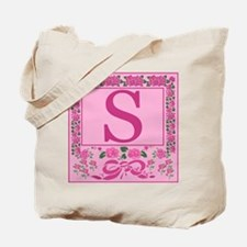 Letter S Pink Ribbons And Roses Monogram Tote Bag