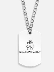 Keep calm I'm the Real Estate Agent Dog Tags